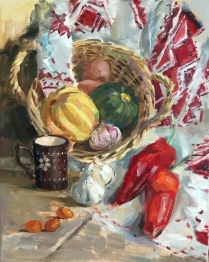 Ukrainian still life. Oil on canvas. Not available for sale.