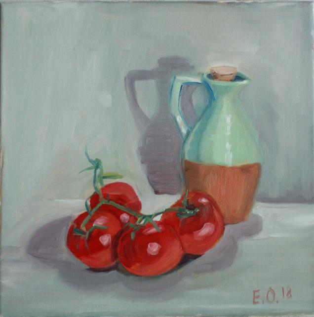 "Oil on Canvas, 30x30cm / 12x12"""
